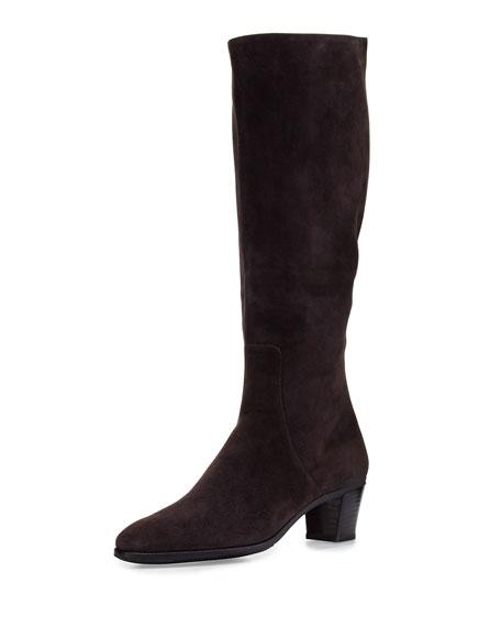 Gravati Suede Side-Zip Knee Boot, Gray