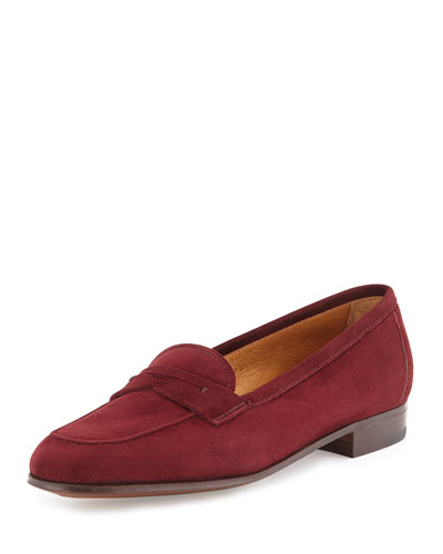 Suede Penny Loafer, Burgundy