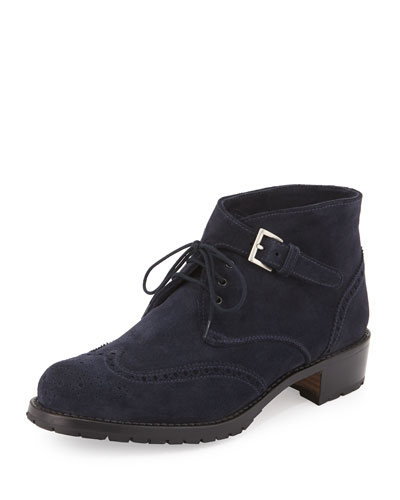Perforated Suede Lace-Up Oxford, Navy