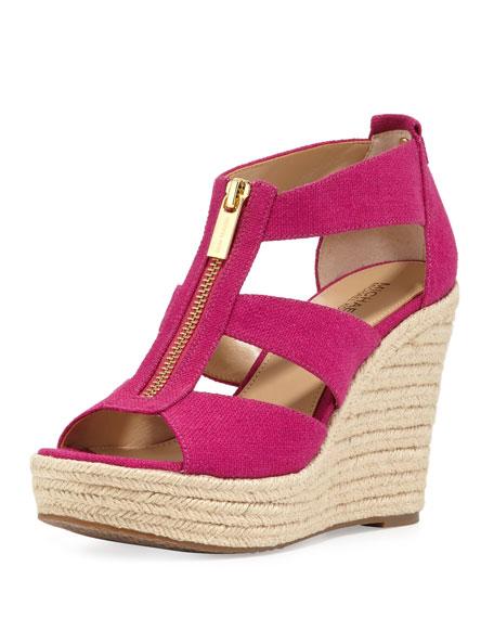 Damita Zip-Front Wedge Sandal, Fuchsia
