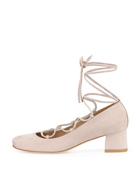 Stuart Weitzman Cordon Lace-Up Ballerina Pump, Hush