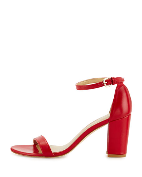 NearlyNude Leather City Sandal, Lipstick