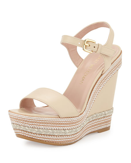 Stuart Weitzman Single Woven Leather Wedge Sandal, Pan