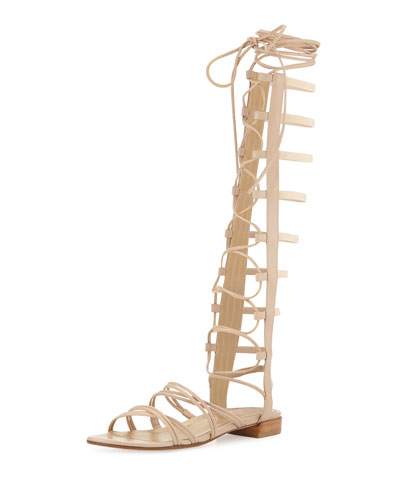 Sparta Lace-Up Gladiator Sandal, Adobe