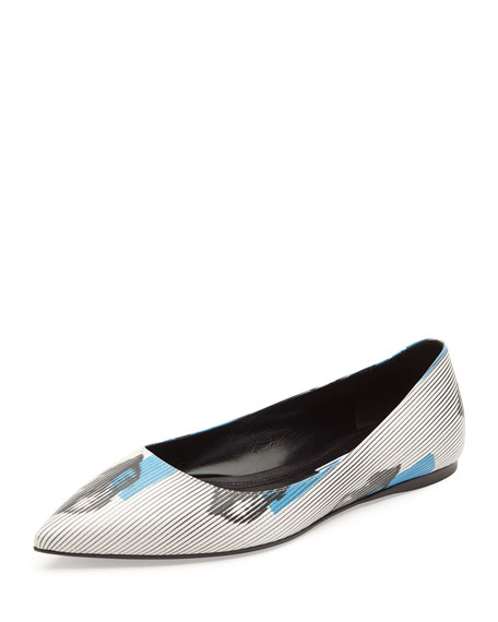 Prada Graphic-Lips Printed Ballet Flat, White/Blue (Bianco/Azzurro)
