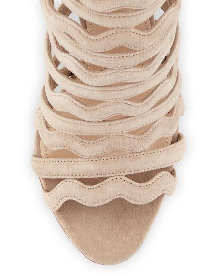 Wavy-Strap Suede 110mm Sandal, Quarzo