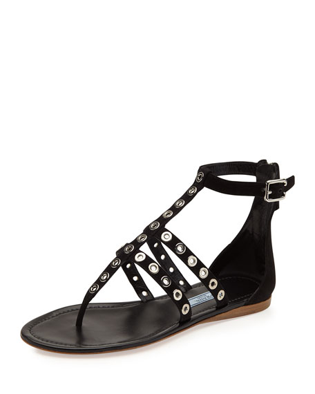 Prada Rivet Strappy Flat Thong Sandal, Black (Nero)