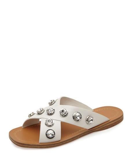 Prada Crystal Crisscross Flat Sandal, White (Bianco)
