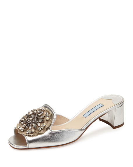 Prada Brocade-Embellished Metallic Mule, Silver (Argento)