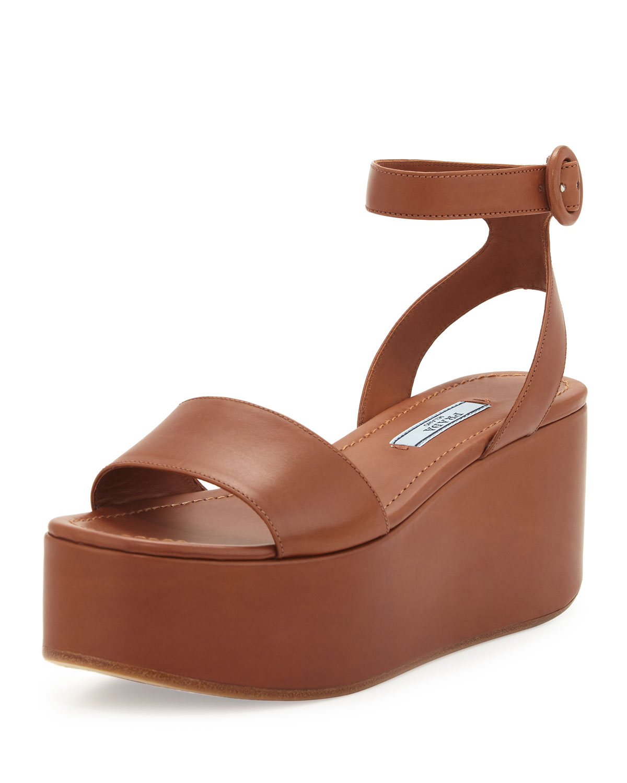 62397fe64b0e Prada Single-Band Leather Platform Sandals