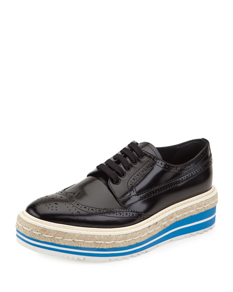 Prada Platform Brogue-Trim Leather Oxford, Black