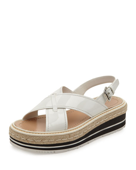 Prada Crisscross Platform Sandal, White (Bianco)