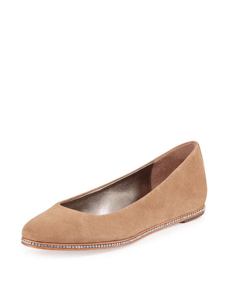 Donald J Pliner Poppy Suede Hidden-Wedge Skimmer, Natural