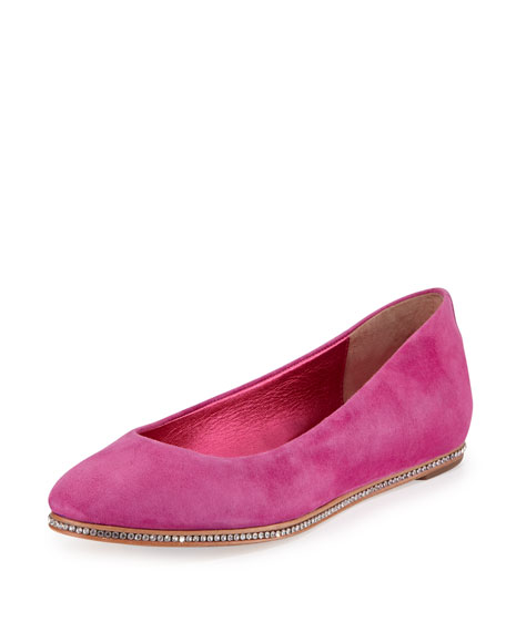 Donald J Pliner Poppy Suede Hidden-Wedge Skimmer, Magenta