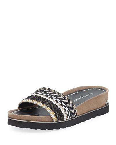 Cava Beaded Slide Sandal, Black/White
