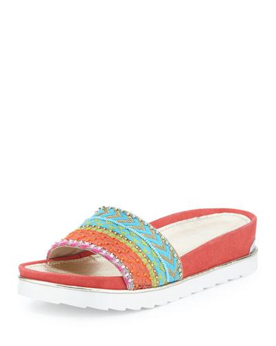 Cava Beaded Slide Sandal, Multi
