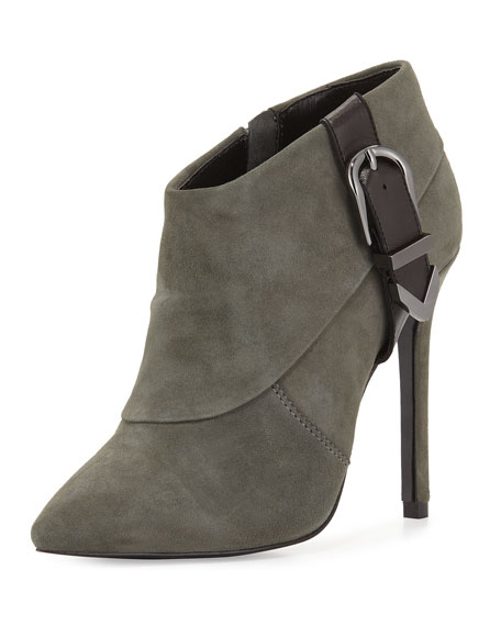 Charles David Valle Suede High-Heel Bootie, Dark Gray
