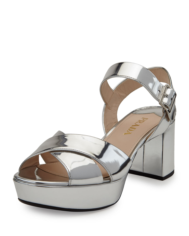 3aa57187b30 Prada Mirrored Crisscross Chunky-Heel Sandal