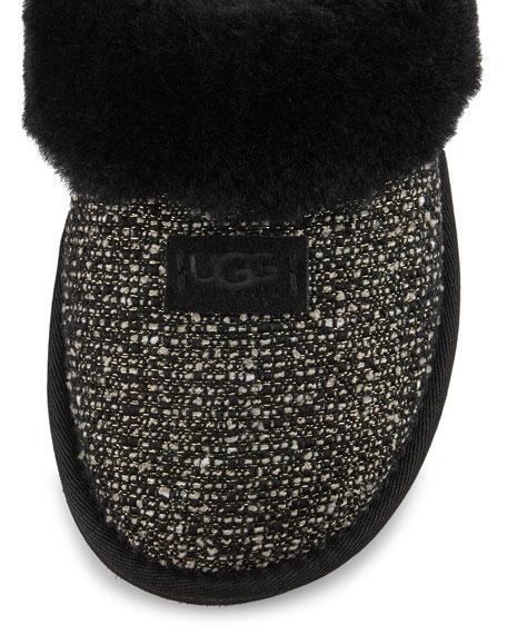 Fancy Metallic Tweed Slipper, Black