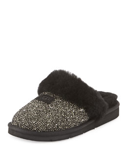 Fancy Metallic Tweed Slipper, Black