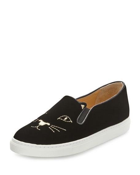 Charlotte Olympia Cool Cats Velvet Slip-On Sneaker, Black
