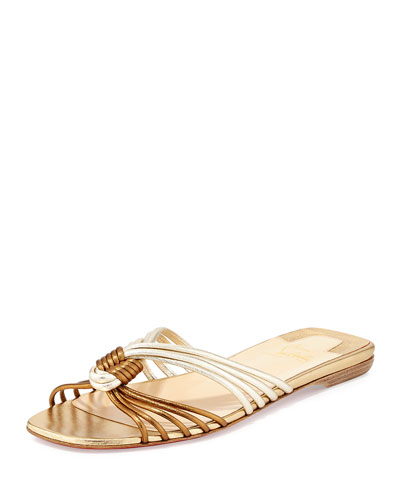 christian louboutin thong sandals Metallic gold and brown leather ...