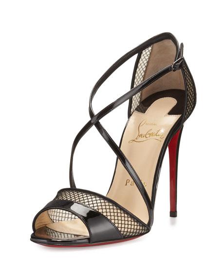 Christian Louboutin Slikova Patent Mesh Red Sole Sandal,