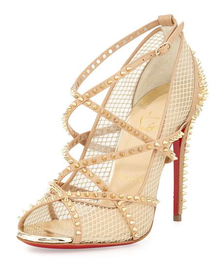 christian louboutin fake shoes online - Christian Louboutin Alarc Mini-Spike Mesh Red Sole Sandal, Nude ...