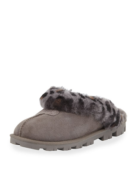 UGG Coquette Leopard-Print Shearling Slipper, Charcoal