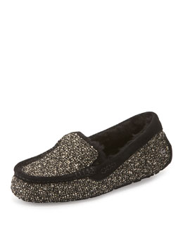 Ansley Fancy Tweed Moccasin Slipper, Black