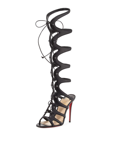 Amazoula 100mm Leather Gladiator Red Sole Sandal, Black