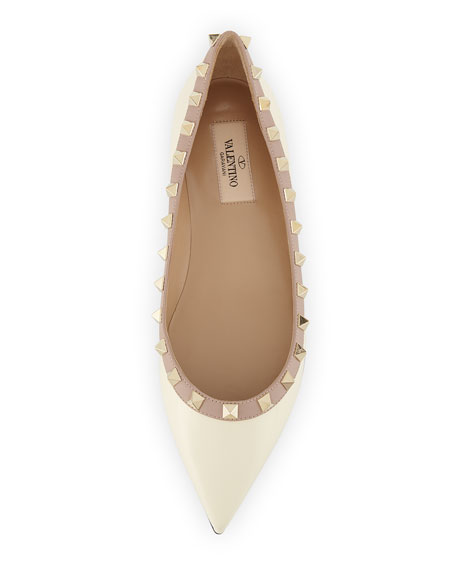 Rockstud Patent Ballerina Flat, Ivory/Poudre