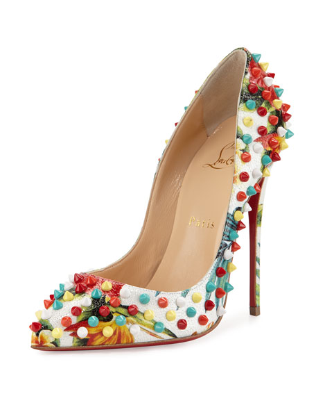 Christian LouboutinFollies Spiked Floral 120mm Red Sole Pump,