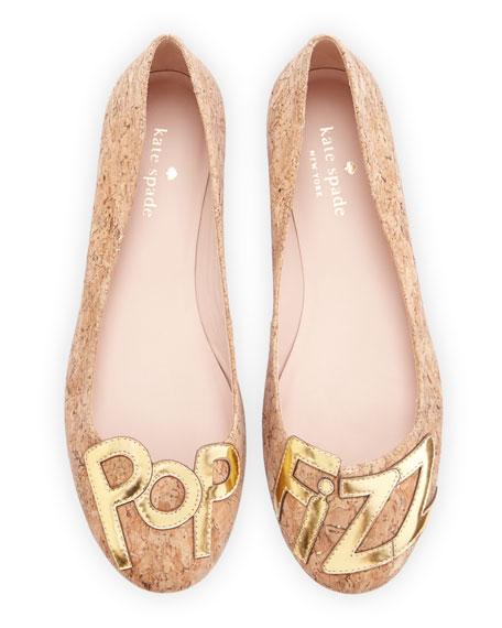 """toast """"pop fizz"""" flecked cork ballerina flat, natural/gold"""