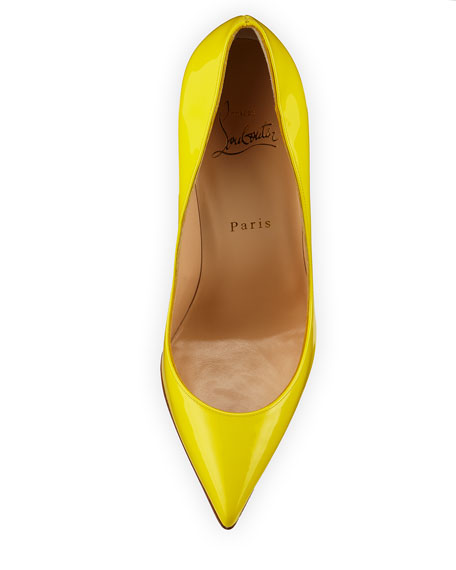 Pigalle Follies Patent 100mm Red Sole Pump, Sun