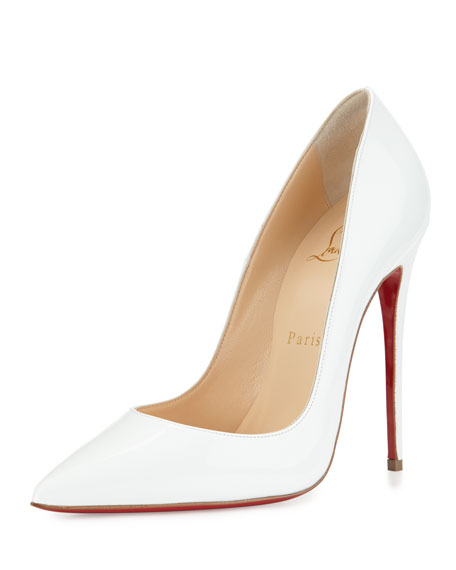 christian louboutin fake shoes - Christian Louboutin So Kate Patent 120mm Red Sole Pump, White