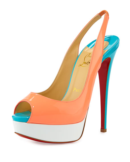 Christian Louboutin Lady Peep-Toe Slingback Red Sole Pump, Flamingo