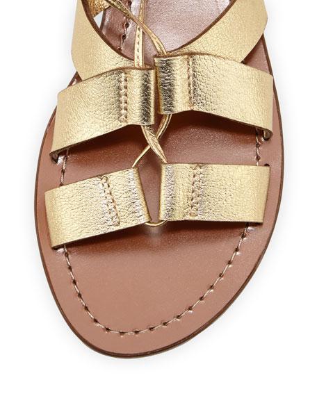 suno metallic lace-up flat sandal, gold