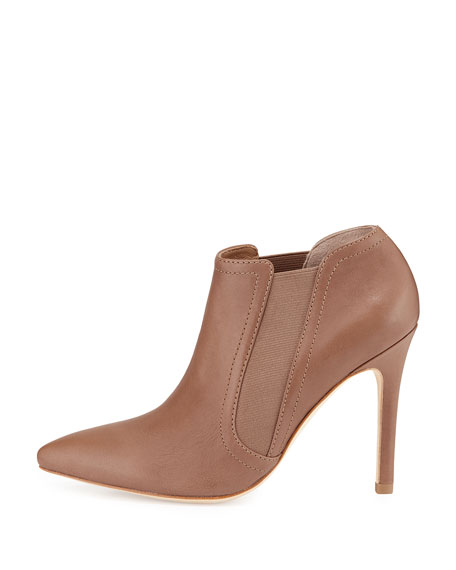 Wendy Leather Pointed-Toe Bootie, Camel