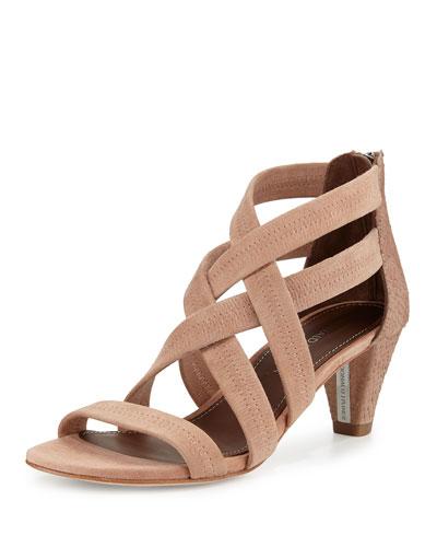 Vida Stretch-Leather Strappy Sandal, Blush