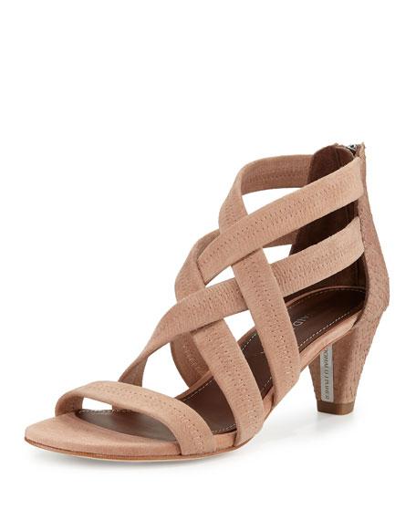 Donald J Pliner Vida Stretch-Leather Strappy Sandal, Blush
