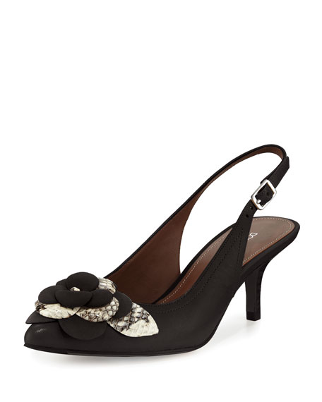 Donald J Pliner Rita Flower-Ornament Slingback Pump, Black