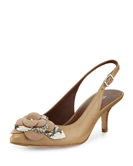 Donald J Pliner Rita Flower-Ornament Slingback Pump, Natural