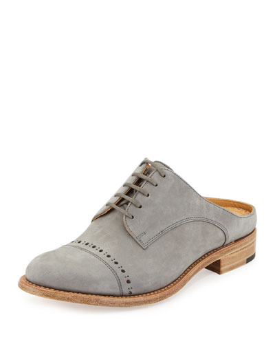 Mr. Winnie Suede Loafer Mule, Gray Cashmere