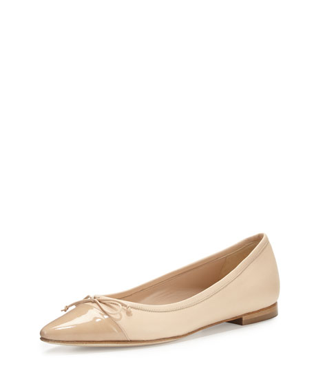 Wendy Pointed-Toe Ballerina Flat, Nude