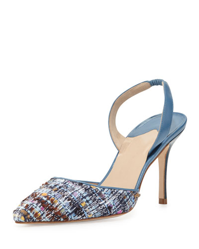 Carolyne Tweed High-Heel Halter Pump, Blue
