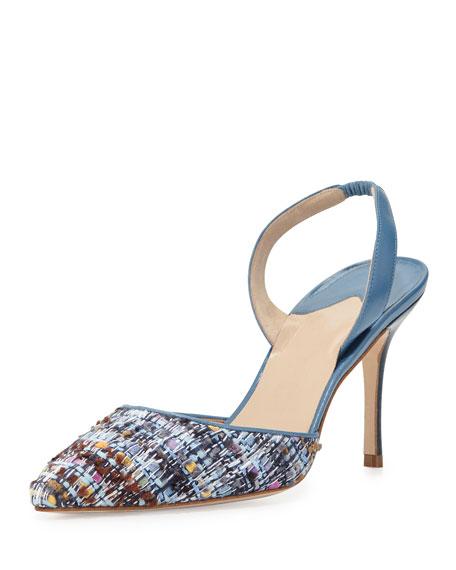 Manolo Blahnik Carolyne Tweed High-Heel Halter Pump, Blue