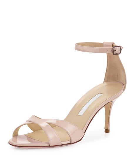 Manolo Blahnik Callre Crisscross Patent 70mm Sandal, Nude