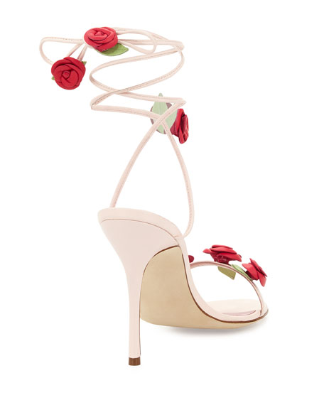 Xiafore Rose Ankle-Wrap Sandal, Pink/Red