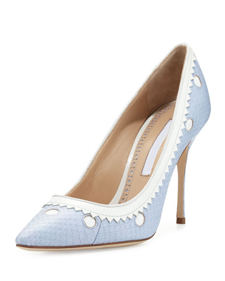 Manolo Blahnik Plataia Snakeskin Pointed-Toe Pump, Light